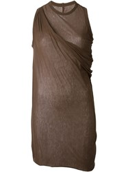 Rick Owens Lilies Draped Long Tank Top Brown
