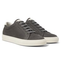 Brunello Cucinelli Leather Trimmed Nubuck Sneakers Gray