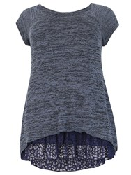 Samya Plus Size Knit Tunic Top Blue