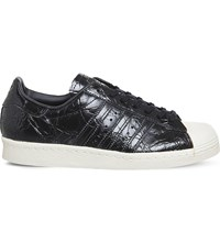 Adidas Superstar 80S Creased Patent Leather Trainers Patent Black