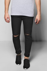 Boohoo Ripped Knee Spray On Skinny Jeans Black
