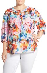 Nydj Plus Size Women's Henley Top Urban Vista