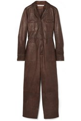 Veronica Beard Artemis Leather Jumpsuit Brown