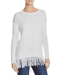 Velvet By Graham And Spencer Asia Fringe Hem Sweater Winter White