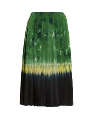 Altuzarra Zurina Tie Dye Pleated Skirt Green Multi