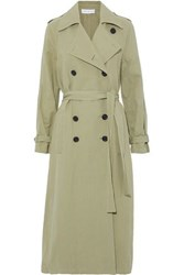 Robert Rodriguez Cotton And Linen Blend Twill Trench Coat Sage Green