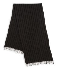 John Varvatos Striped Cashmere Fringe Scarf Marine Army Charcoal