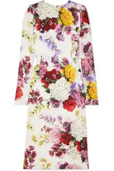 Dolce And Gabbana Floral Print Silk Blend Satin Midi Dress White