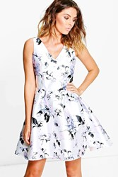 Boohoo Flossie Floral Print Skater Dress White