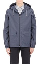 A.P.C. Sateen Twill Hooded Jacket Blue