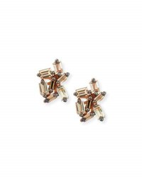 Suzanne Kalan Champagne Baguette Diamond Cluster Earrings In 18K Rose Gold
