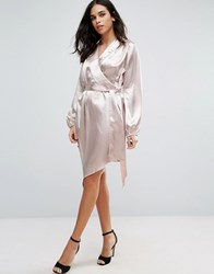 Jessica Wright Long Sleeve Satin Shirt Dress Pink