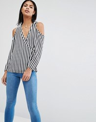 Asos Cold Shoulder Blouse In Satin Stripe Black White Multi