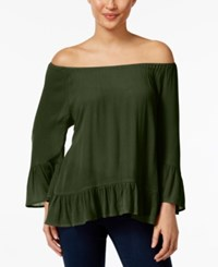 Styleandco. Style And Co. Off The Shoulder Flounce Hem Top Only At Macy's Evening Olive