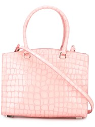 Rochas Crocodile Texture Tote Bag Pink Purple