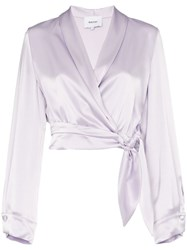 Nanushka Salome Tie Waist Cropped Wrap Shirt Purple