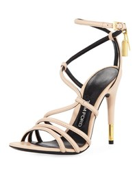 Tom Ford Strappy Leather Ankle Lock Sandal Nude