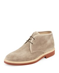 Suede Chukka Boot Light Brown Ermenegildo Zegna Blue