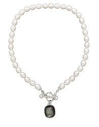 Honora Style Sterling Silver Freshwater Pearl And Black Mother Of Pearl Necklace