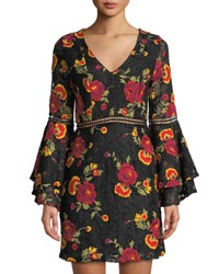 Alexia Admor Floral Embroidered Lace Bell Sleeve Dress Black
