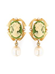 Dolce And Gabbana Cameo Clip On Earrings Green