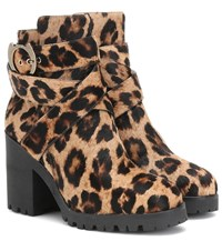 Charlotte Olympia Leopard Print Calf Hair Ankle Boots Multicoloured