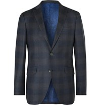Etro Navy Slim Fit Checked Wool Suit Jacket Blue