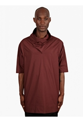 Rick Owens Men's Brown Cowl Neck Oversized T Shirt