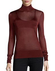 Dkny Sheer Turtleneck Sweater Red
