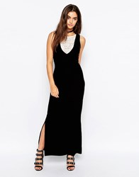 Motel Bella Maxi Dress In Velvet With Lace Insert Black Cream