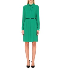 Hugo Boss Dylana Belted Crepe Shirt Dress Green