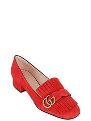Gucci 25Mm Marmont Gg Fringed Suede Pumps