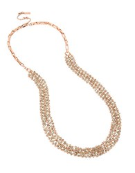 Kenneth Cole Bead Rose Gold Mesh Long Necklace