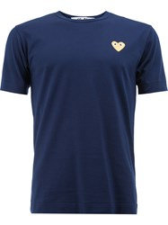 Comme Des Garcons Play Heart Embellished T Shirt Cotton S Blue