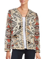Glamorous Embroidered Open Front Jacket Grey Rust