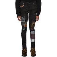 Amiri Black Grunge Patch Medium Crafted Jeans