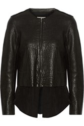 Sandro Vivette Convertible Textured Leather And Crepe Jacket Black