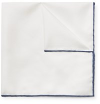 Emma Willis Contrast Tipped Silk Twill Pocket Square White