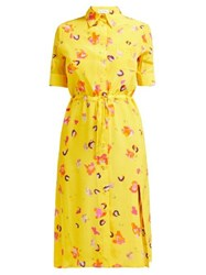 Altuzarra Vittoria Floral Print Silk Midi Dress Yellow Multi