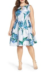 Gabby Skye Plus Size Women's Keyhole Detail Floral Shantung Fit And Flare Dress Powder Periwinkle
