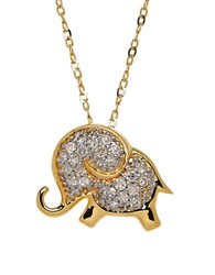 Lord And Taylor Diamond And 14K Yellow Gold Elephant Pendant Necklace