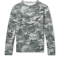Officine Generale Camouflage Print Loopback Cotton Jersey Sweatshirt Gray Green