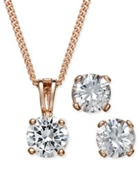 Charter Club Rose Gold Tone Cubic Zirconia Pendant Necklace And Earrings Set Only At Macy's