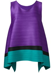 Issey Miyake Pleats Please By Sleeveless Pleated Top Women Polyester 3 Pink Purple