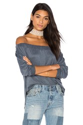 Twenty Rib Off The Shoulder Top Blue