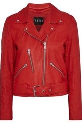 Veda Cal Linen Paneled Leather Biker Jacket Tomato Red