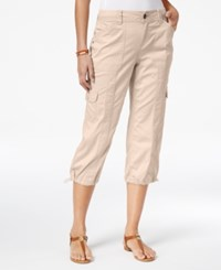 Style And Co Petite Bungee Hem Cargo Capri Pants Only At Macy's Pink Bliss