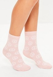 Missguided Pink Peace Symbol Ankle Socks