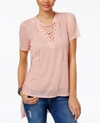 Material Girl Juniors' Lace Up Tunic Only At Macy's Blush