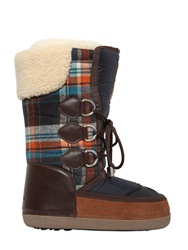 Dsquared Nylon And Plaid Wool Snow Boots Blue Orange
